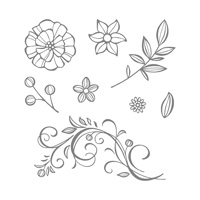 flowers leaves stamps