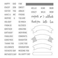 words banner stamps