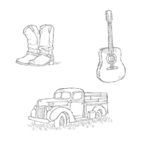 boots guitar country stamps
