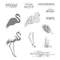flamingo bird stamp set