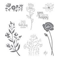 Flirty Flowers Wood-Mount Stamp Set