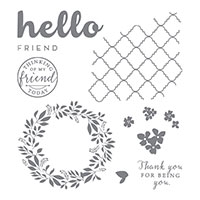 Hello Friend Wood-Mount Stamp Set