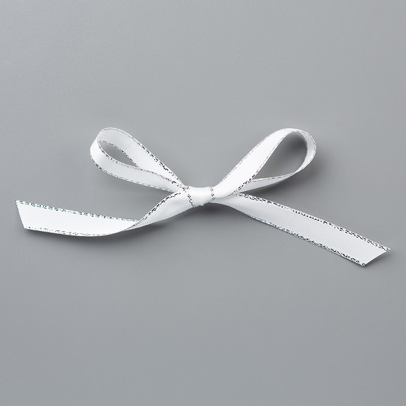 "Silver 3/8"" Metallic-Edge Ribbon"