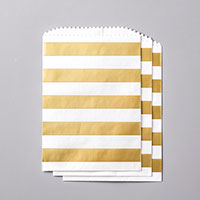 gold and white stripe bags