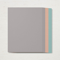 neutral grey, orange, and blue paper