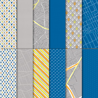 blue yellow grey airplane geometic travel paper