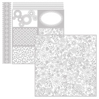 silver and white floral detail paper