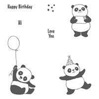 Party Pandas Wood-Mount Stamp Set