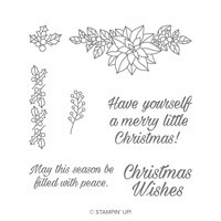 Peaceful Poinsettia Wood-Mount Stamp Set