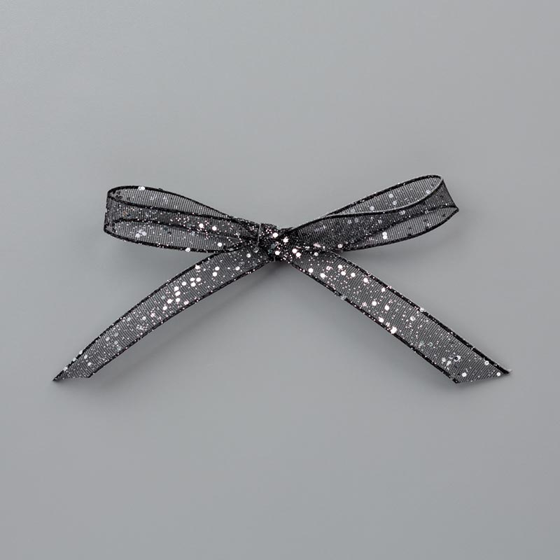 "Black 5/8"" (1.6 cm) Glittered Organdy Ribbon"