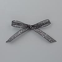 Black 5/8 (1.6 cm) Glittered Organdy Ribbon