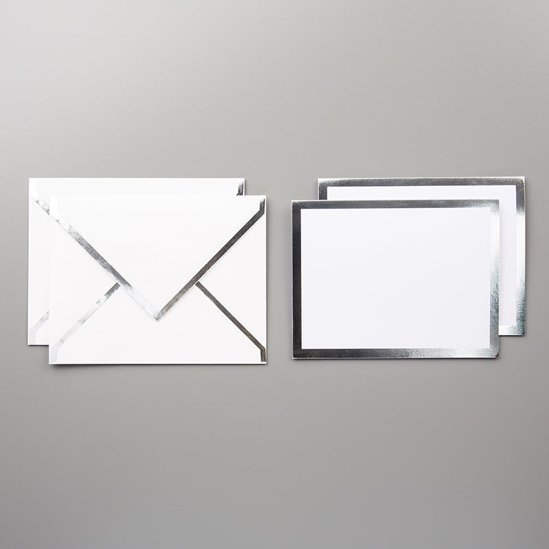 Silver Foil-Edged Cards & Envelopes
