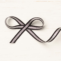 Black/Silver 1/4 (6.4 Mm) Striped Metallic Ribbon
