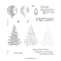 Gestickte Weihnachten Photopolymer Stamp Set (German)