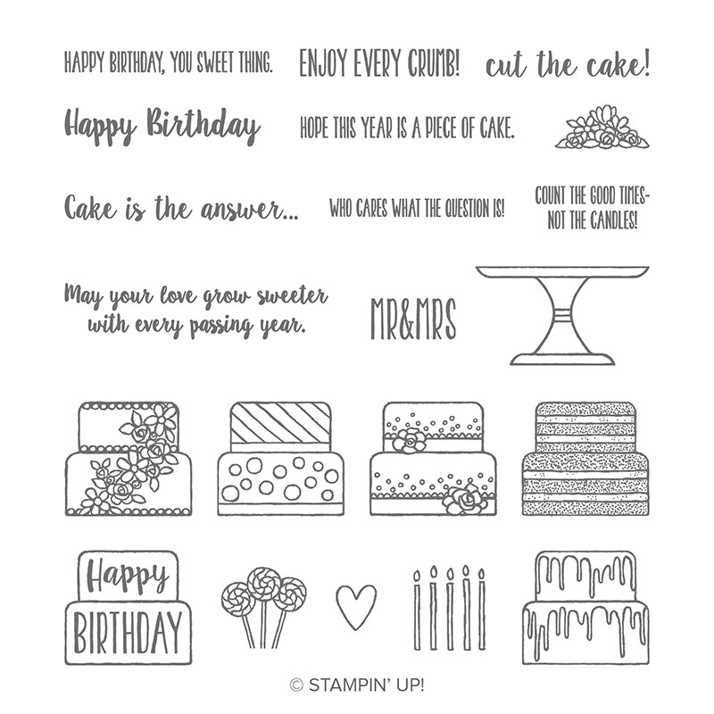 birthday cake stamp set
