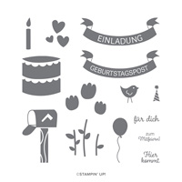 GEBURTSTAGSFEIER PHOTOPOLYMER STAMP SET (GERMAN)