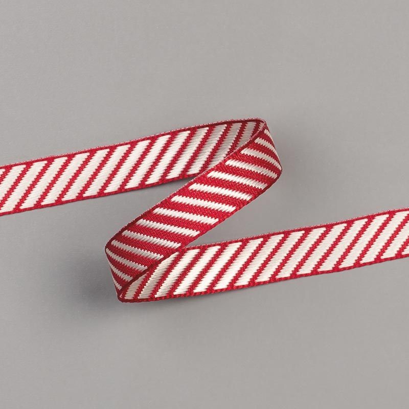 "CHERRY COBBLER 3/8"" (1 CM) DIAGONAL STRIPE RIBBON"