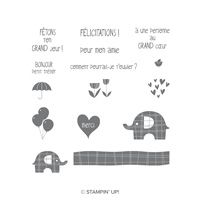 Petit Éléphant Cling-Mount Stamp Set (French)