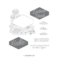Blumiges Etikett Cling-Mount Stamp Set (German)
