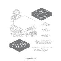 Blumiges Etikett Cling-Mount Stamp Set (German)