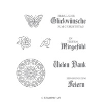 Buntglasgrüße Cling-Mount Stamp Set (German) Buntglasgrüsse