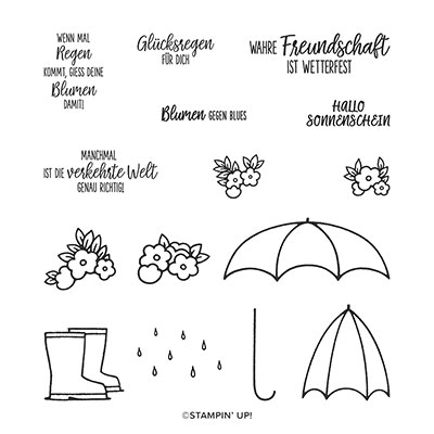 GLÜCKSREGEN PHOTOPOLYMER STAMP SET (GERMAN)