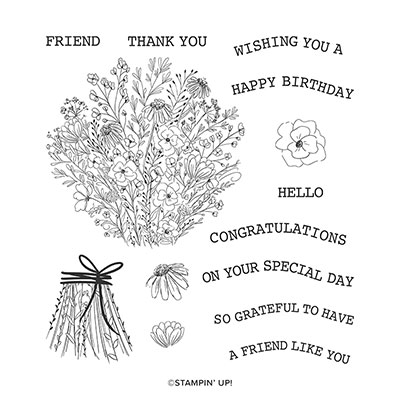 HAND-DRAWN BLOOMS CLING STAMP SET (ENGLISH)