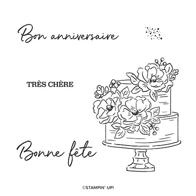BON ANNIVERSAIRE TRÈS CHÈRE CLING STAMP SET (FRENCH)