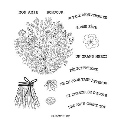 FLEURS EN CROQUIS CLING STAMP SET (FRENCH)