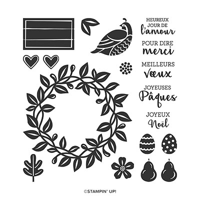 VŒUX EN COURONNE PHOTOPOLYMER STAMP SET (FRENCH)